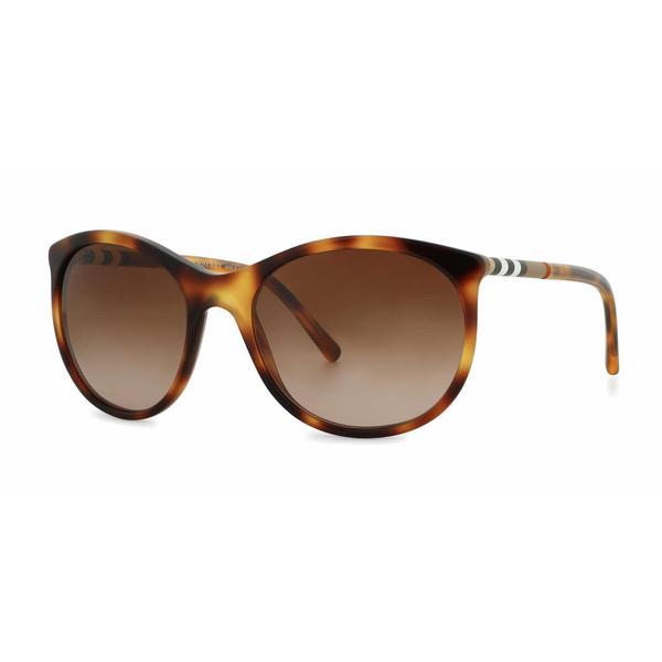 62ae70812676 Shop Burberry Women BE4145 331613 Havana Plastic Round Sunglasses ...