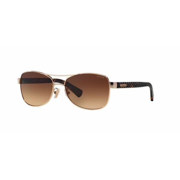Coach Women HC7054 L129 920913 Gold Plastic Cateye Sunglasses