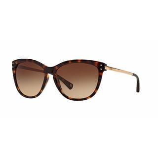 Coach Women HC8084 L072 CELIA 517013 Havana Metal Cat Eye Sunglasses