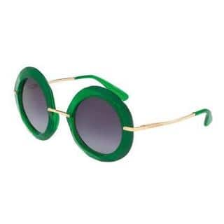 Dolce&Gabbana Women DG6105 30088E Green Round Sunglasses|https://ak1.ostkcdn.com/images/products/13319061/P20024741.jpg?impolicy=medium
