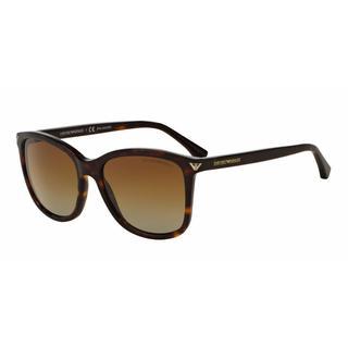 Emporio Armani Women EA4060F 5026T5 Havana Plastic Square Sunglasses