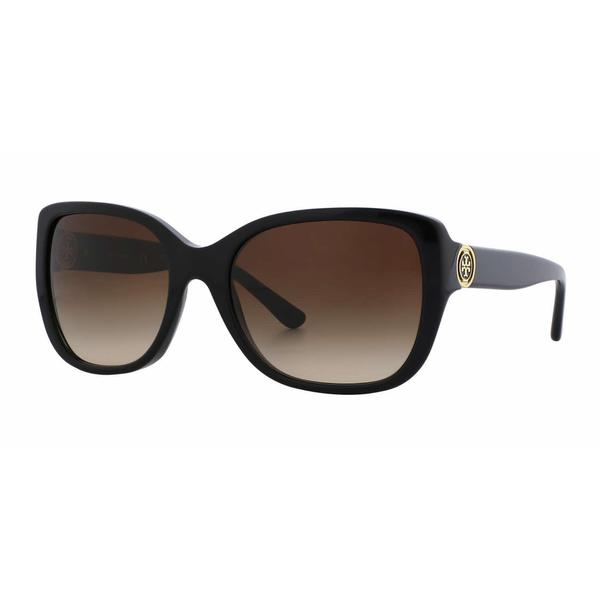 2f926c3093 Tory Burch Women TY7086 131213 Black Plastic Rectangle Sunglasses