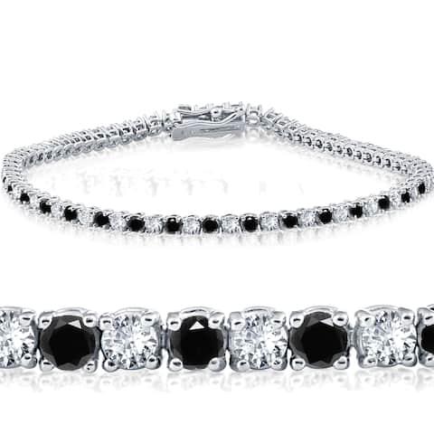 "14k White Gold 3 ct Round Cut Black & White Diamond Tennis Bracelet 7"" - White I-J"