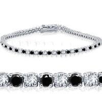 "14k White Gold 3 ct Round Cut Black & White Diamond Tennis Bracelet 7"""
