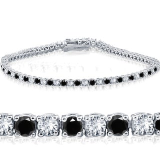14k White Gold 3 ct Round Cut Black & White Diamond Tennis Bracelet 7""