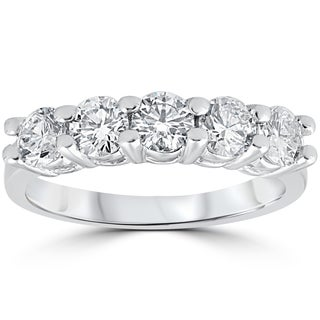 14k White Gold 1 1/5 ct Five Stone Diamond Wedding Womens Anniversary Ring (G-H, VS1-VS2)