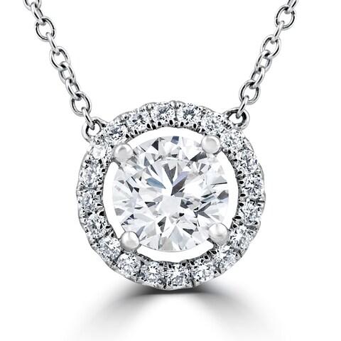 18K White Gold 1.55Ct Round Brilliant Cut Halo Diamond Clarity Enhanced Pendant 18K White Gold (F-G,SI1-SI2)