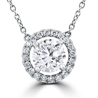 18K White Gold 1.55Ct Round Brilliant Cut Halo Diamond Clarity Enhanced Pendant 18K White Gold (F-G,SI1-SI2)