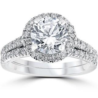 14k White Gold 2 3/4ct TDW Halo Diamond Clarity Enhanced 2-Piece Engagement Ring Set