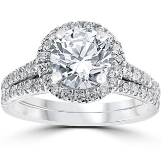 14k White Gold 2 3/4 cttw Halo Diamond Enhanced Engagement Wedding Ring Set (H-I, I2-I3)