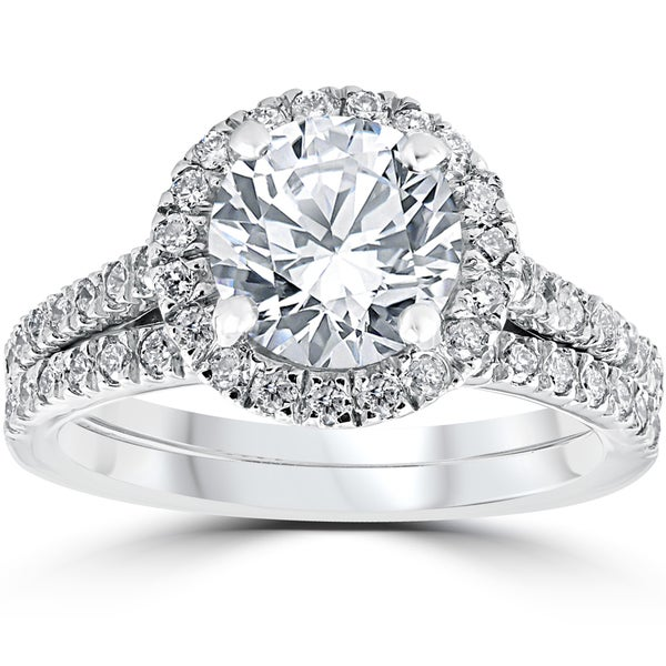 14k white gold 2 3 4 cttw halo diamond enhanced engagement wedding