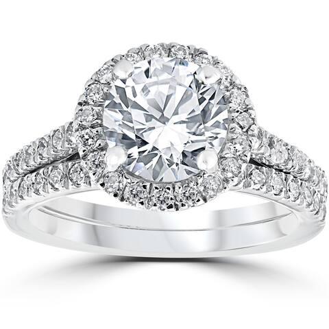 14k White Gold 2 3/4ct TDW Halo Diamond Clarity Enhanced 2-Piece Engagement Ring Set - White H-I