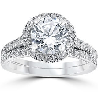 14k White Gold 2 3/4 cttw Halo Diamond Enhanced Engagement Wedding Ring Set (H-I, I2-I3)