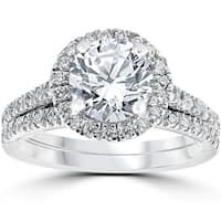 14k White Gold 2 3/4ct TDW Halo Diamond Clarity Enhanced 2-Piece Engagement Ring Set
