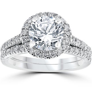 14k White Gold 2 3/4ct TDW Halo Diamond Clarity Enhanced 2-Piece Engagement Ring Set (More options available)