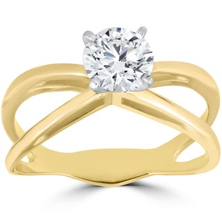 14k Yellow Gold 1 ct Solitaire Diamond Clarity Enhanced Engagement Ring