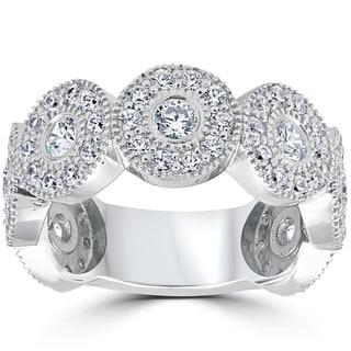 14k White Gold 1 1/2ct Diamond Vintage Halo Bezel 3/4 Eternity Wedding Ring (I-J,I2-I3)