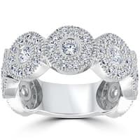 14k White Gold 1 1/2ct Diamond Vintage Halo Bezel 3/4 Eternity Wedding Ring