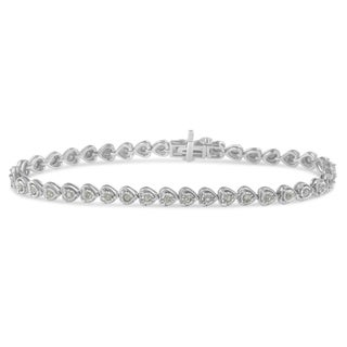 Sterling Silver 1ct TDW Rose-cut Diamond Heart Link Tennis Bracelet (I-J, I2-I3) - White