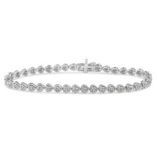 Sterling Silver 1ct TDW Rose-cut Diamond Heart Link Tennis Bracelet (I-J, I2-I3) - White