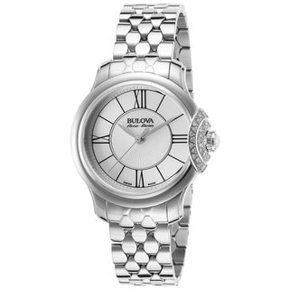 Bulova Accu Swiss Women's 63R143 Swiss Made Silver Tone Watch with 30 Diamonds
