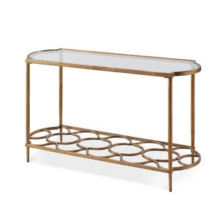 Magnussen Home Furnishings T4038 Bancroft Goldtone Metal and Glass Rectangular Sofa Table