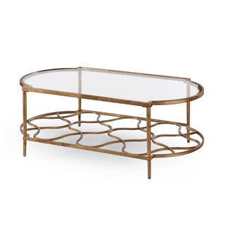 Magnussen Home Furnishings T4038 Bancroft Gold-tone Metal/Glass Rectangular Cocktail Table