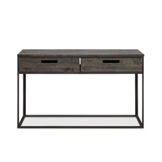 Magnussen Home Furnishings T4034 Claremont Rectangular Weathered Charcoal Pine, Glass, Wrought Iron Sofa Table