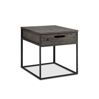 Claremont Rustic Weathered Charcoal Storage End Table