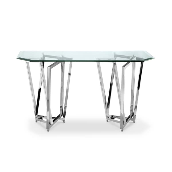 Lenox Square Modern Chrome Metal And Glass Console Table
