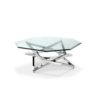 Lenox Square Modern Chrome Metal and Glass Coffee Table