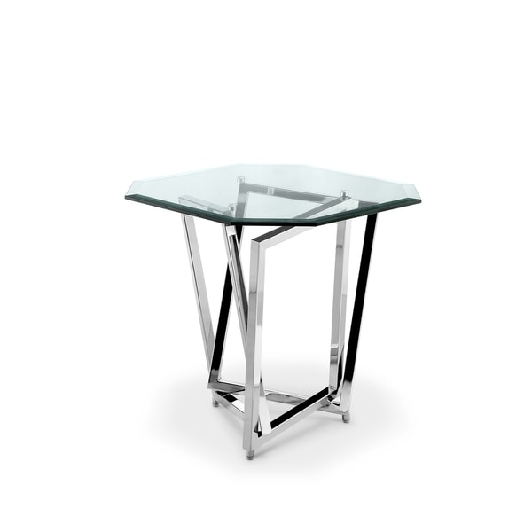 Lenox Square Modern Chrome Metal And Gl End Table