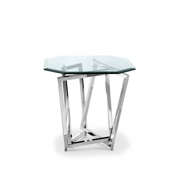 Lenox Square Modern Chrome Metal And Gl End Table