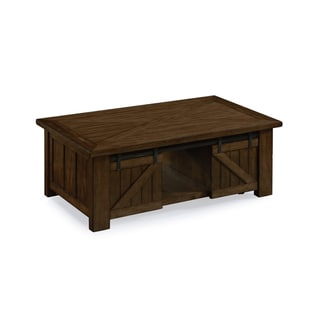 Fraser Farmhouse Rustic Pine Lift Top Sliding Door Coffee Table on Casters