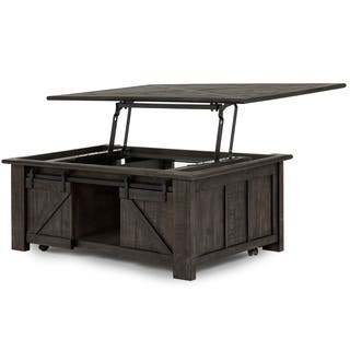 Garrett Rustic Weathered Charcoal Lift Top Sliding Door Coffee Table With Casters