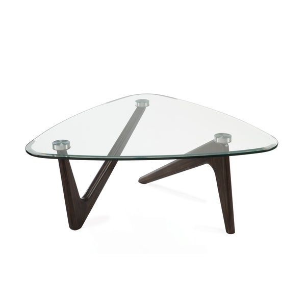 Garvin Modern Distressed Nutmeg Coffee Table With Glass Top