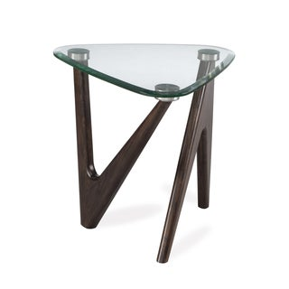 Garvin Modern Distressed Nutmeg End Table with Glass Top