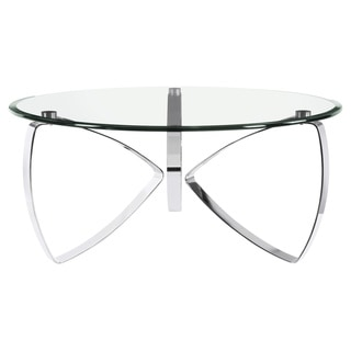 Nico Modern Chrome Round Glass Top Cocktail Table