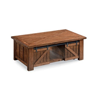 Harper Farm Rustic Warm Pine Lift Top Sliding Door Coffee Table on Casters