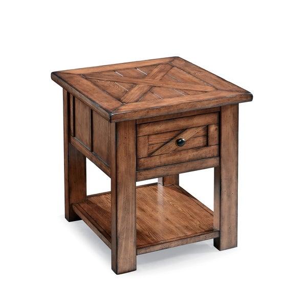 Harper Farm Rustic Warm Pine Storage End Table