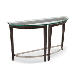 Carmen Contemporary Hazelnut Demilune Glass Top Console Table