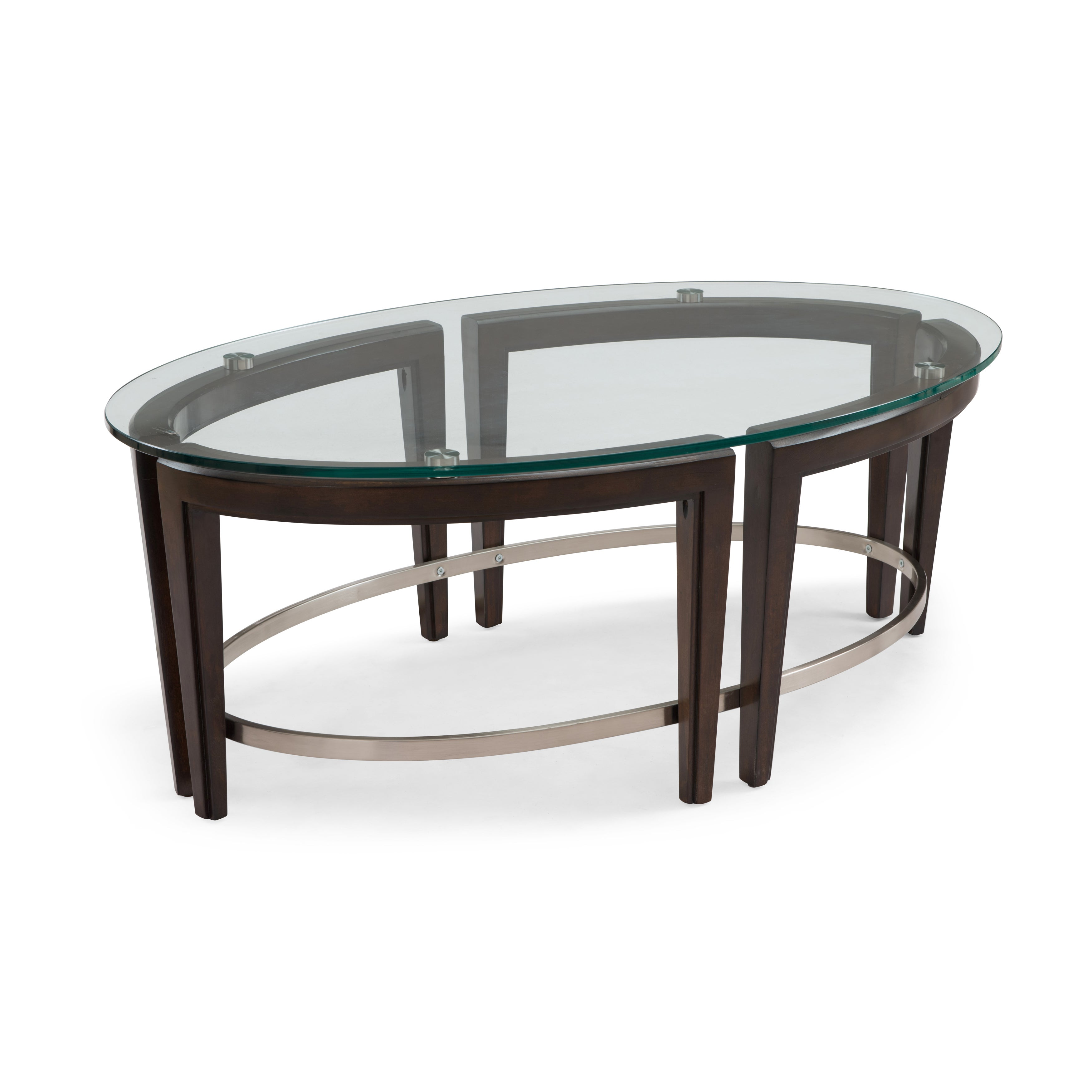 - Shop Carmen Contemporary Hazelnut Oval Glass Top Coffee Table