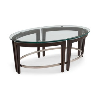 Carmen Contemporary Hazelnut Oval Glass Top Coffee Table