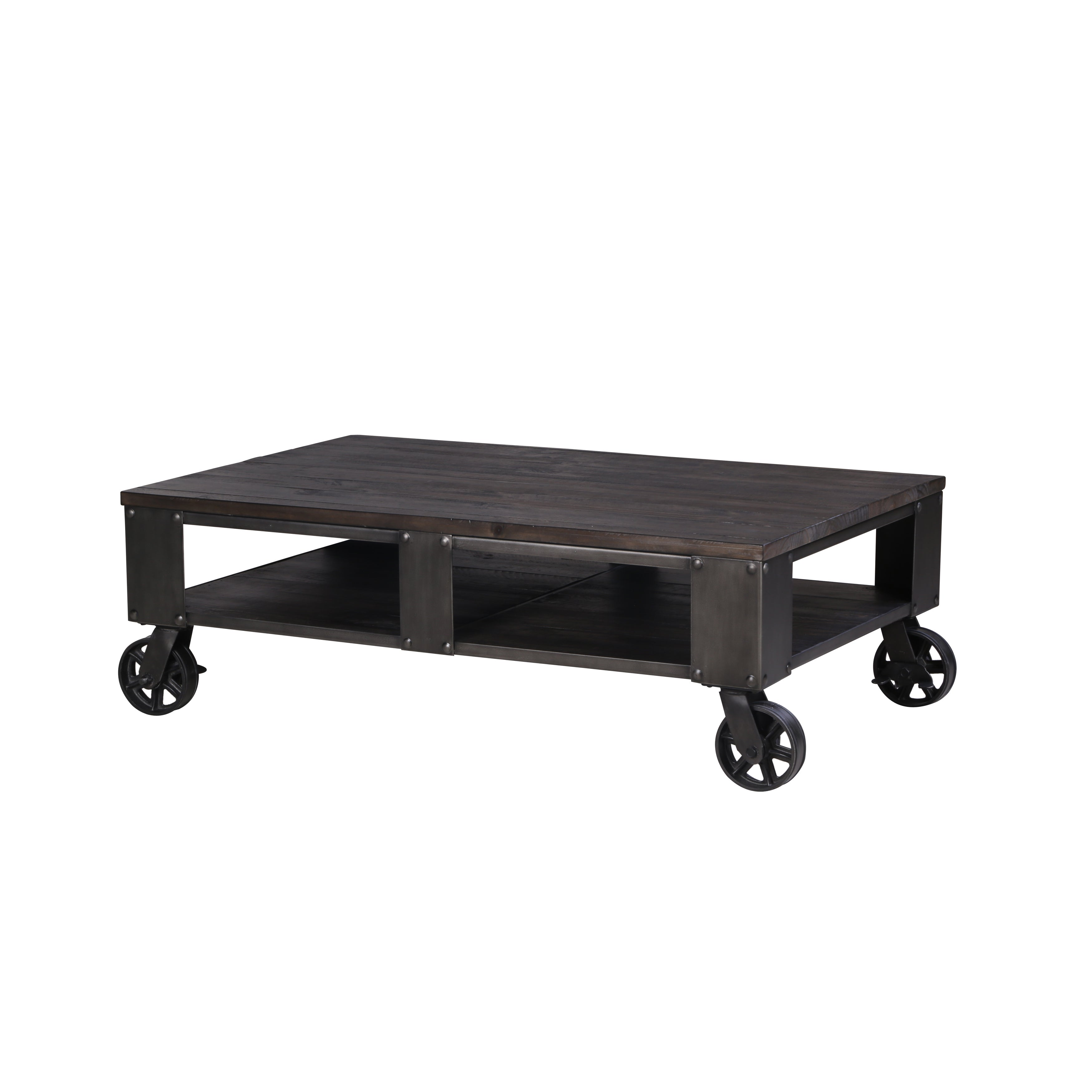 - Shop Milford Industrial Weathered Charcoal Wood And Metal Coffee Table With  Casters - Overstock - 13321549