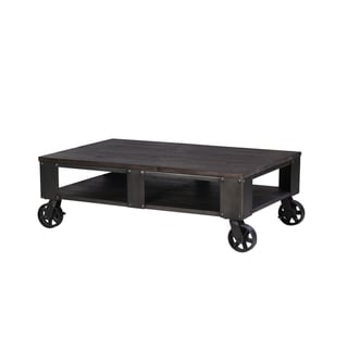 Milford Industrial Weathered Charcoal Wood and Metal Coffee Table with Casters