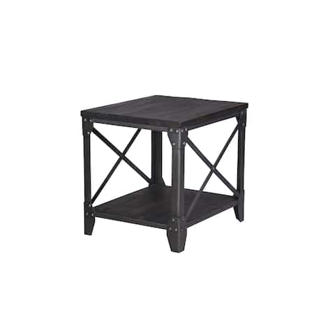 Milford Industrial Weathered Charcoal Wood and Metal End Table