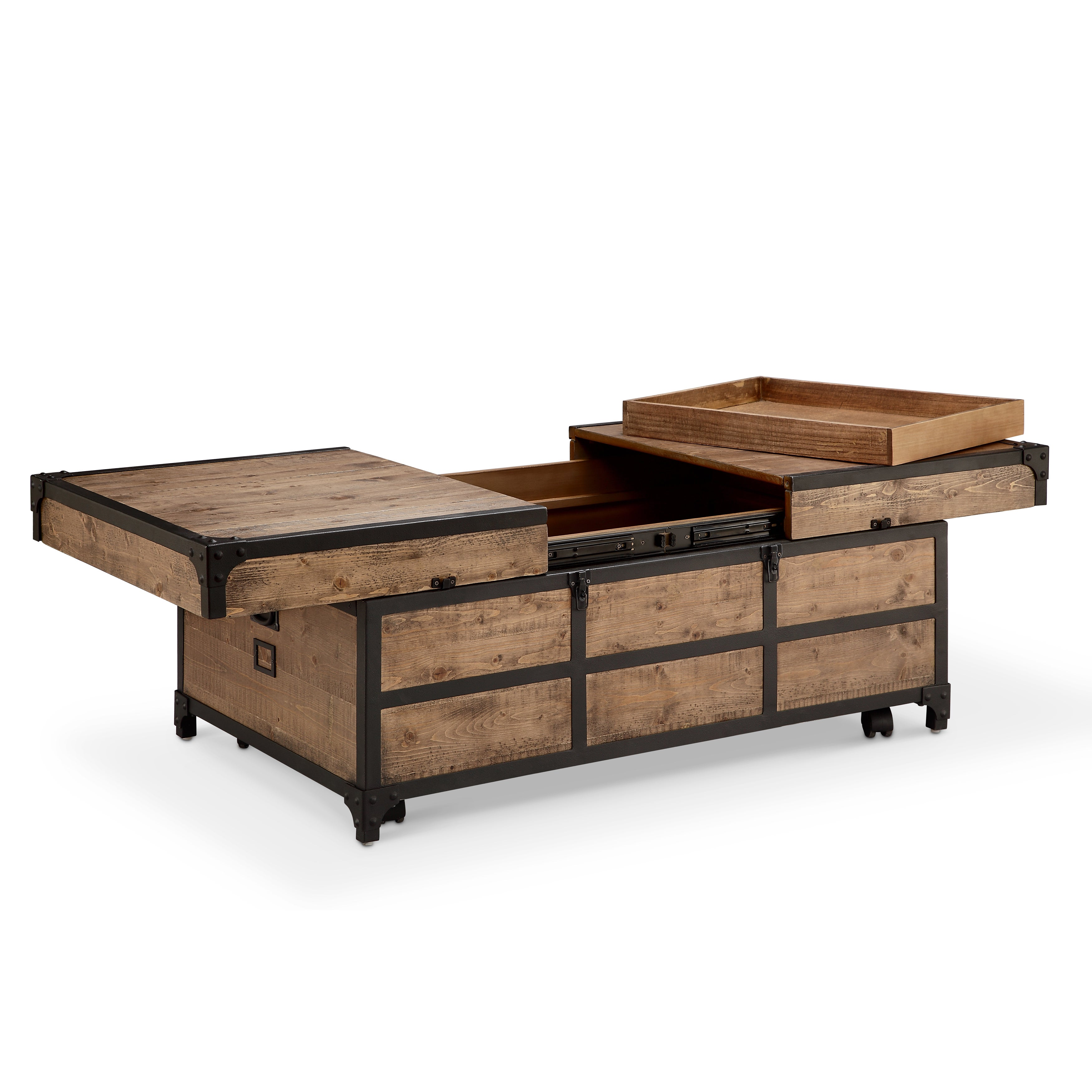 Maguire Rustic Weathered Barley Expandable Storage Coffee Table With Casters