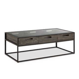 Magnussen Claremont Weathered Charcoal Iron Glass Rectangular Cocktail Table