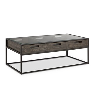 Claremont Rustic Weathered Charcoal Storage Glass Top Coffee Table