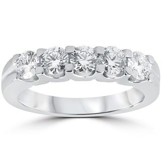 14k White Gold 1 cttw Diamond Eco Friendly Lab Grown Wedding Ring Anniversary Five Stone (F-G, VS1-VS2)